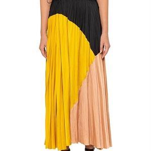 Ulla Johnson Davina Pleated Colorblock Skirt